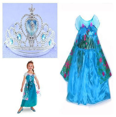 Girls Clothing - 2015 girl dress Elsa Anna princess dress costume kids party dresses summer children cosplay dress fantasia infantil Vestido - dress set4 / 3T  jetcube