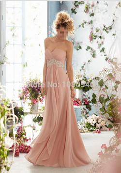 - 0199 royal blue 2014 New Crystal Chiffon Long Formal Prom Party Evening Dress orange  fashion maxi plus size strapless - dusty pink / 20W  jetcube