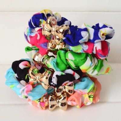 Hair Accessories - 10 Pcs/Lot Solid/ Print/ Dot Printing Elastic Hair Ties Ropes Women Hair Accessories - floral  jetcube