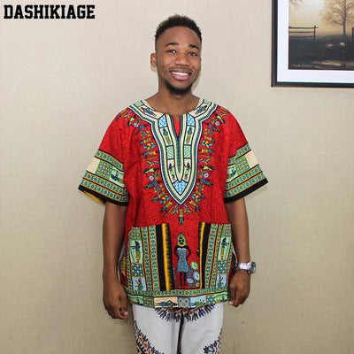 T-Shirts - (fast shipping) 2016 Newest Fashion Design African Traditional Print 100% Cotton Dashiki T-shirt for unisex - girlred / L  jetcube