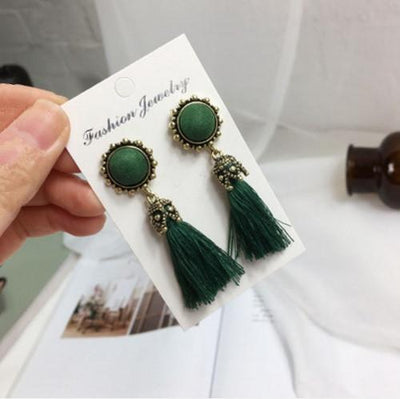 Earrings - 2016 Fashion Vintage Earrings For Women Jewelry Bright Brick Earrings Flower Long Tassel Drop Earrings Dangle Brincos - green  jetcube