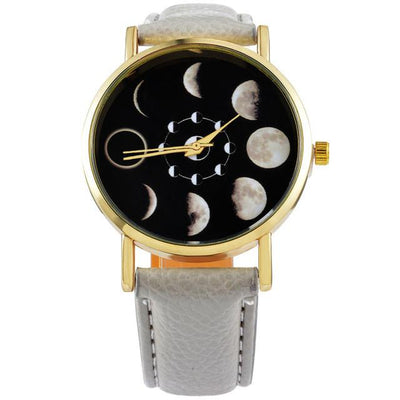 Moon Change Phase Lunar Eclipse Watch Women Stylish Sports Watch PU Leather Bracelet Watches For Women Clock hour