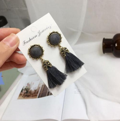 Earrings - 2016 Fashion Vintage Earrings For Women Jewelry Bright Brick Earrings Flower Long Tassel Drop Earrings Dangle Brincos - grey  jetcube