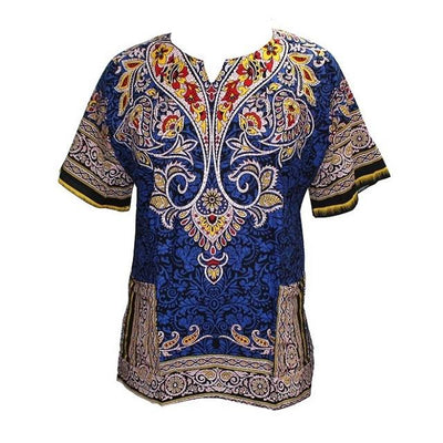 T-Shirts - (fast shipping) 2016 Newest Fashion Design African Traditional Print 100% Cotton Dashiki T-shirt for unisex - kblue / L  jetcube