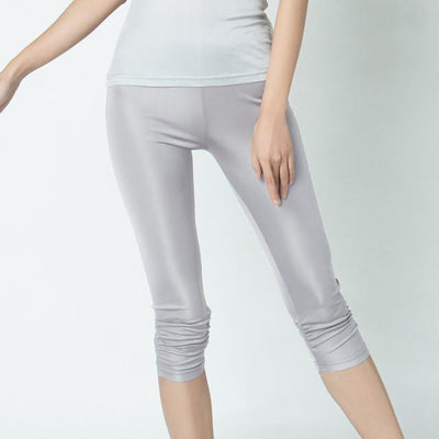 Pants & Capris - 100% Pure Silk Women's Calf-Length Pants Femme Slim Solid Female Pantalones Ladies Mujer Simple Women Trousers For Woman - light grey / XL  jetcube