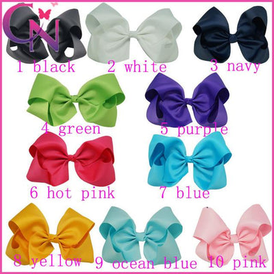 Hair Accessories - 10 pcs/lot 3 inch Grosgrain Ribbon 8 inch Big Hair Bow Boutique Hair Bow For Girls Hair Bow With Clip ZH10-14022015 - mix color  jetcube