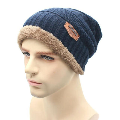 Skullies & Beanies - 2016 fashion Knit Beanie  warmer Knitted Winter Hats For Men women Caps warm Bonnet  Free Shipping - navy  jetcube