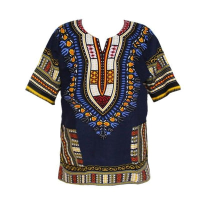T-Shirts - (fast shipping) 2016 Newest Fashion Design African Traditional Print 100% Cotton Dashiki T-shirt for unisex - navy / L  jetcube