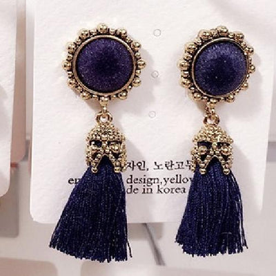Earrings - 2016 Fashion Vintage Earrings For Women Jewelry Bright Brick Earrings Flower Long Tassel Drop Earrings Dangle Brincos - navy  jetcube