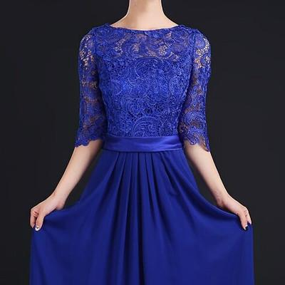 2017 autumn summer lace bracelet sleeve Three Quarter sleeve long Green Evening dress full dress lace navy blue formal dress Evening Dresses Fashion clothes wholesale store- upcube
