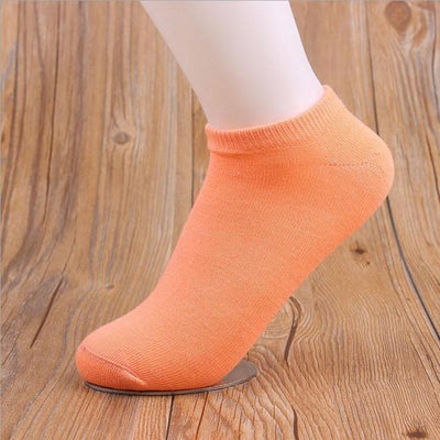 Socks - (10Pairs/lot)Wholesale Summer Solid Thin Short Women's Socks Female Cotton Low Cut Ankle Socks Ladies Colorful Cute Socks Boat - oarnge  jetcube