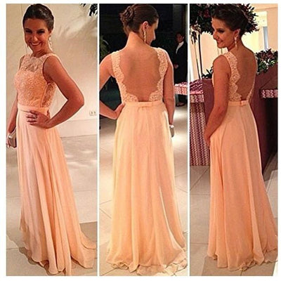 - 2016 High Quality Nude Back Chiffon Lace Long Bridesmaid Dress Peach Color Sleeveless Prom Gowns Vestidos de Noiva Custom ZY0101 - picture color / 2  jetcube