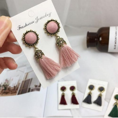 Earrings - 2016 Fashion Vintage Earrings For Women Jewelry Bright Brick Earrings Flower Long Tassel Drop Earrings Dangle Brincos - pink  jetcube