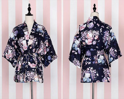 "Trench - ""Onegai Kitsune"" Women's Japanese Kimono / Yukata Style Trench Cute Hydrangea White Fox Printed Loose Lolita Outwear 4Colors - purplish Kimono  jetcube"