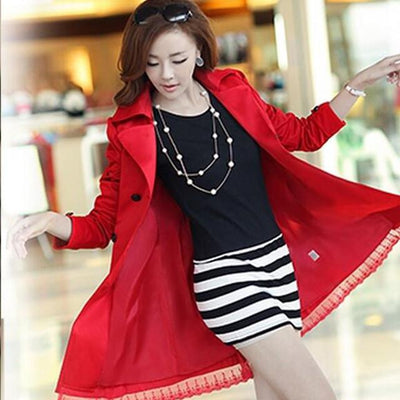 Coats - 1 PC Lace Trench Coat Spring Autumn New Long Turn-down Collar Plus Size Double Breasted Outerwear 2017 Women Casual Solid SY015 - red Trench Coat / XXL  jetcube