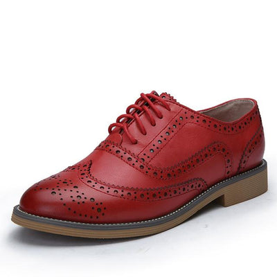 Women's Pumps - 2016 Genuine Leather Shoes Women Brogues Oxfords Flat Heels Round Toe Handmade Women Casual Shoes Plus Size 42 - red / 4  jetcube