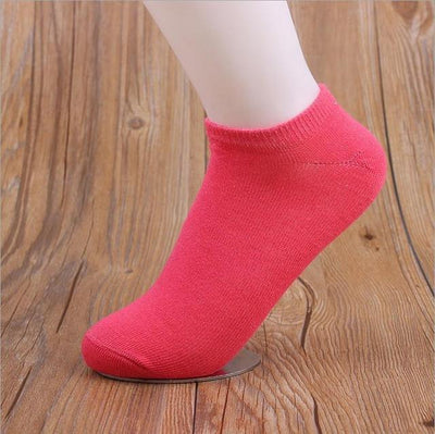Socks - (10Pairs/lot)Wholesale Summer Solid Thin Short Women's Socks Female Cotton Low Cut Ankle Socks Ladies Colorful Cute Socks Boat - red  jetcube