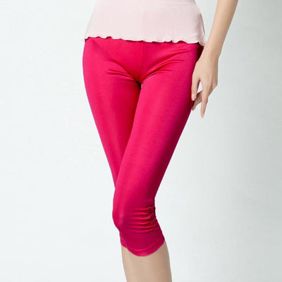 Pants & Capris - 100% Pure Silk Women's Calf-Length Pants Femme Slim Solid Female Pantalones Ladies Mujer Simple Women Trousers For Woman - rose red / XL  jetcube