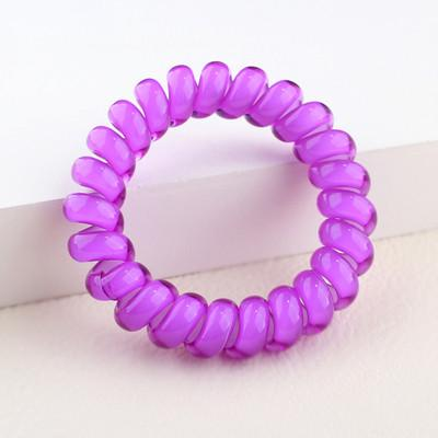 Hair Accessories - (3pcs) Popular Scrunchies Telephone Wire Gum For Ladies Elastic Hair Band Rope Candy Colored Bracelet  Large size Scrunchy - violet  jetcube