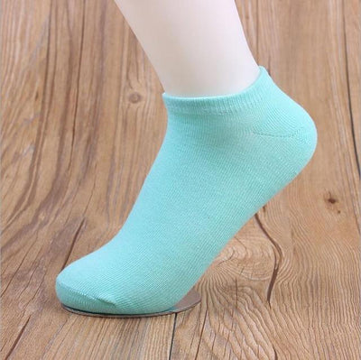 Socks - (10Pairs/lot)Wholesale Summer Solid Thin Short Women's Socks Female Cotton Low Cut Ankle Socks Ladies Colorful Cute Socks Boat - wathet blue  jetcube