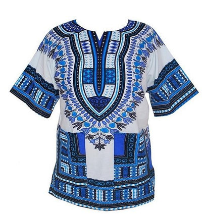 T-Shirts - (fast shipping) 2016 Newest Fashion Design African Traditional Print 100% Cotton Dashiki T-shirt for unisex - white blue / L  jetcube