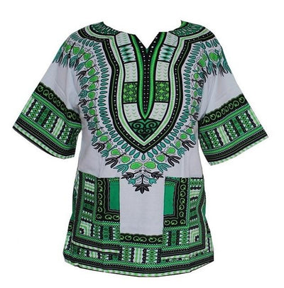 T-Shirts - (fast shipping) 2016 Newest Fashion Design African Traditional Print 100% Cotton Dashiki T-shirt for unisex - white green / L  jetcube
