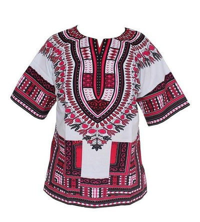 T-Shirts - (fast shipping) 2016 Newest Fashion Design African Traditional Print 100% Cotton Dashiki T-shirt for unisex - white pink / L  jetcube