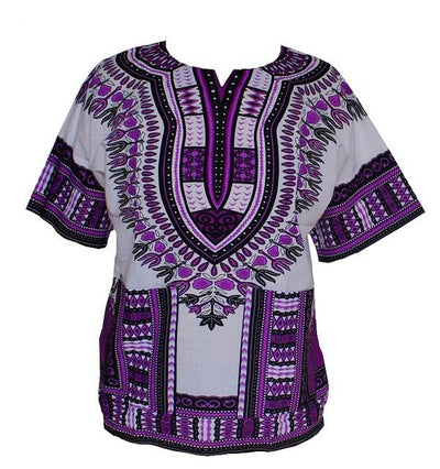 T-Shirts - (fast shipping) 2016 Newest Fashion Design African Traditional Print 100% Cotton Dashiki T-shirt for unisex - white purple / L  jetcube