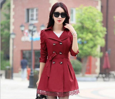 Coats - 1 PC Lace Trench Coat Spring Autumn New Long Turn-down Collar Plus Size Double Breasted Outerwear 2017 Women Casual Solid SY015 - wine red / XXL  jetcube
