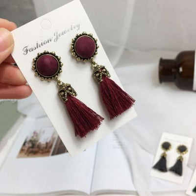Earrings - 2016 Fashion Vintage Earrings For Women Jewelry Bright Brick Earrings Flower Long Tassel Drop Earrings Dangle Brincos - wine red  jetcube
