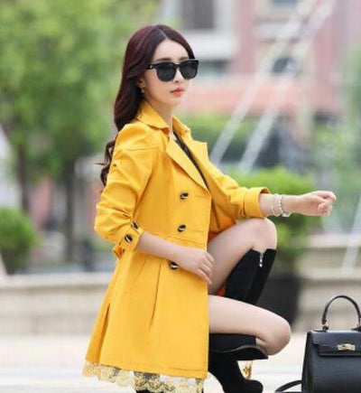 Coats - 1 PC Lace Trench Coat Spring Autumn New Long Turn-down Collar Plus Size Double Breasted Outerwear 2017 Women Casual Solid SY015 - yellow / XXL  jetcube