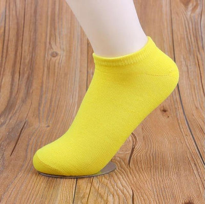 Socks - (10Pairs/lot)Wholesale Summer Solid Thin Short Women's Socks Female Cotton Low Cut Ankle Socks Ladies Colorful Cute Socks Boat - yellow  jetcube