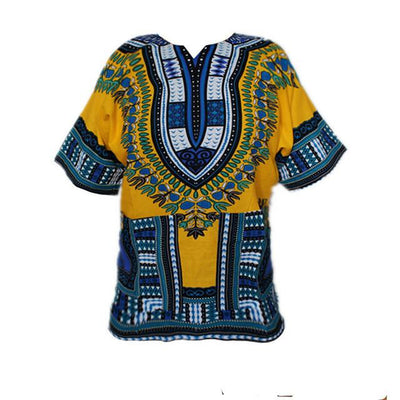 T-Shirts - (fast shipping) 2016 Newest Fashion Design African Traditional Print 100% Cotton Dashiki T-shirt for unisex - yellowblue / L  jetcube