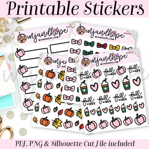 Fall Vibes Sticker Set - PRINTABLE STICKERS - MJ and Hope