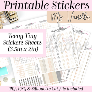 Ms. Vanilla Teeny Tiny Sticker Set - PRINTABLE STICKERS - MJ and Hope