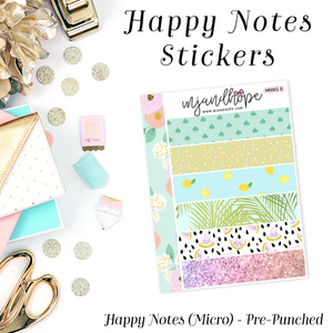 Micro Happy Notes Washi Stickers | MNWS 8 - MJ and Hope