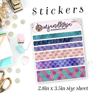Mermaid Washi Stickers | 5mm/10mm/15mm | Planner Stickers | MWS01 - MJ and Hope