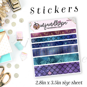 Mermaid Washi Stickers | 5mm/10mm/15mm | Planner Stickers | MWS02 - MJ and Hope