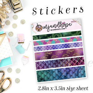 Mermaid Washi Stickers | 5mm/10mm/15mm | Planner Stickers | MWS03 - MJ and Hope