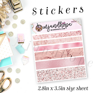 Pink Textures Washi Stickers | 5mm/10mm/15mm | Planner Stickers | MWS04 - MJ and Hope