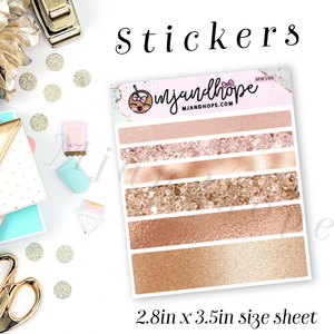 Rose Gold Textures Washi Stickers | 5mm/10mm/15mm | Planner Stickers | MWS06 - MJ and Hope