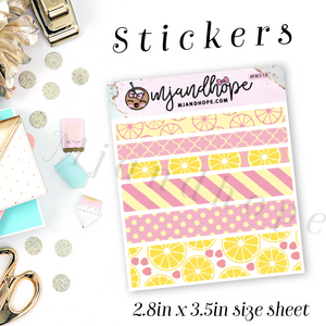 Pink Lemonade Washi Stickers | 5mm/10mm/15mm | Planner Stickers | MWS10 - MJ and Hope
