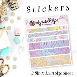 Glitter Rose Washi Stickers | 5mm/10mm/15mm | Planner Stickers | MWS12 - MJ and Hope