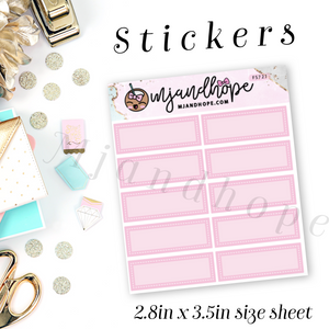 Mini Box Stickers - Pink | Planner Stickers | FS721 - MJ and Hope