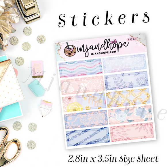 Mini Box Stickers - Glitter Rose | Planner Stickers | FS722 - MJ and Hope