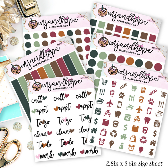 Autumn Color Mini Functional Stickers | MFS007-MFS012 - MJ and Hope