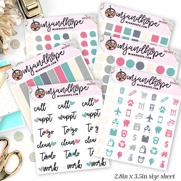 Pop of Color Mini Functional Stickers | MFS019-MFS024 - MJ and Hope