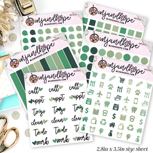 Shades of Green Mini Functional Stickers | MFS025-MFS030 - MJ and Hope