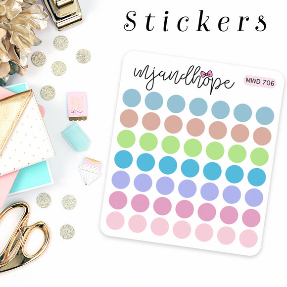 Dot Functional Stickers | MWD 706 - Cute Colors - MJ and Hope