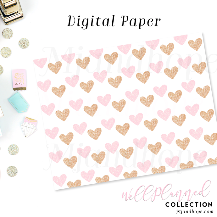 Pink and Gold Hearts - Digital Paper - MJ and Hope